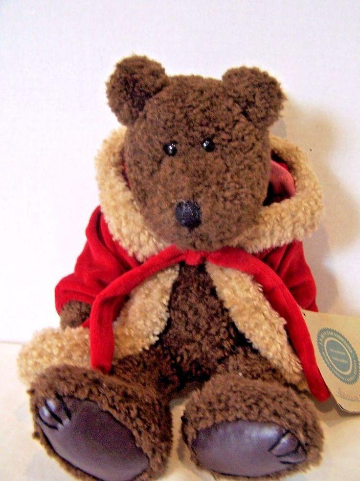 "Boyds Bears Isaiah brown plush 12"" Christmas Santa teddy bear red coat Santa hat #Boyds"