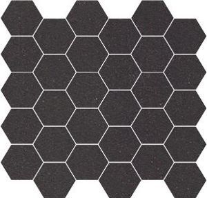 Carrelage mosaique gr s winckelmans noir hexagone 5x5 cm for Carrelage hexagonal noir mat