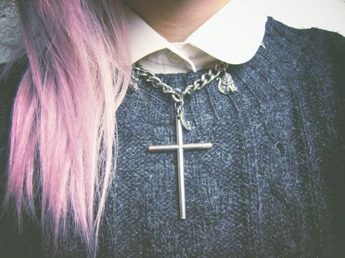 colour hair, cross, fashion, girl, grunge, hair, hipster, ombre hair, pastel, pink, style