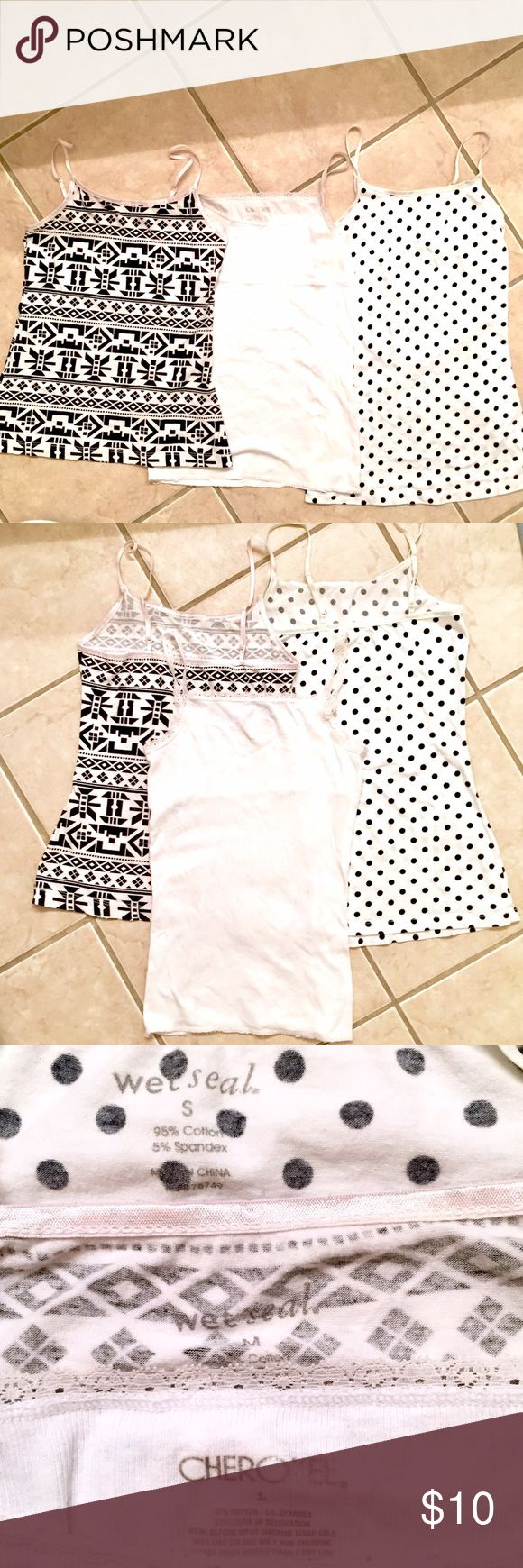 BLACK & WHITE CAMI BUNDLE Three cute camisoles made of cotton/spandex blends. Polka dot is Size Small & tribal print is Size Medium both from Wet Seal. White lace trimmed cami is Size Large (but fits the same as the polka dot cami) by Cherokee! Wet Seal Tops Camisoles