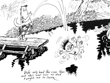 Cartoon from Lat, by far the most popular cartoonist in Malaysia. He draws upon life in the village.