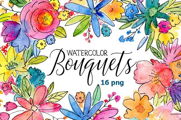 GET IT WHILE ITS FREE - Watercolor bouquets of flowers by GraphicsDish on @creativemarket