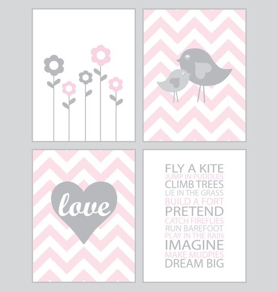 Baby Girl Nursery Art - Chevron pink and gray - set of four - 8x10 prints