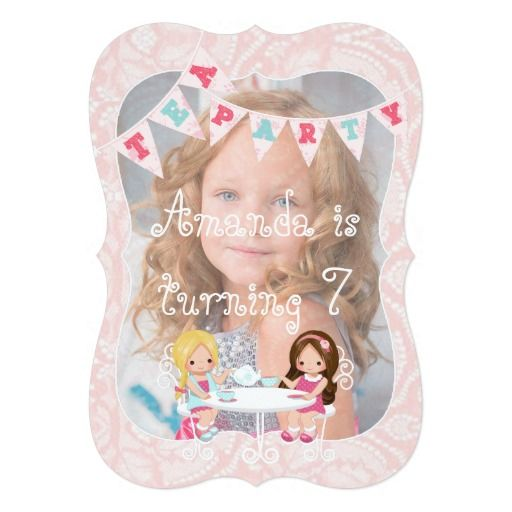 Girl's Birthday Tea Party Shabby-Chic Personalized 5x7 Paper Invitation Card