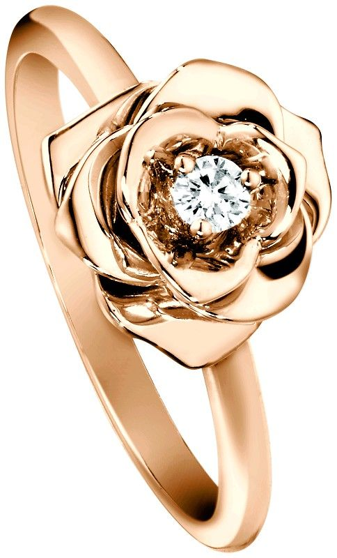 Piaget Rose ring in 18K pink gold set with a brilliant-cut diamond $1,900