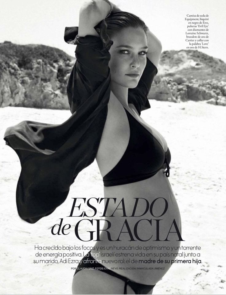 Posing while pregnant, Bar Refaeli wears Equipment shirt with Eres bikini for ELLE Spain Magazine June 2016 issue