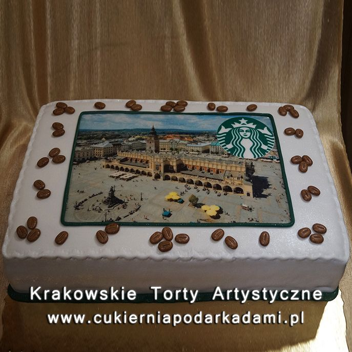 046. Fototort dla Starbucks. Photocake with view of Cracow for Starbuck coffee.