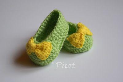 Picot - Szydełkowe Inspiracje: Buciki z kokardką