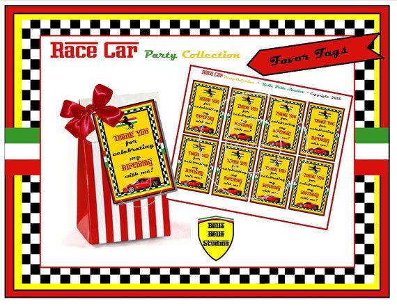 Red FERRARI RACING CAR Party Favor Tags   by BellaBellaStudios