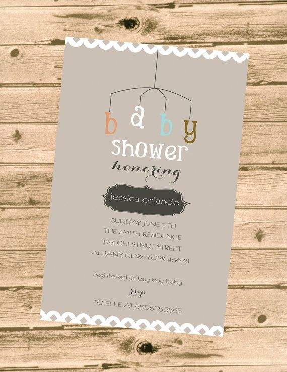 20 best coral teal baby shower images on pinterest coral baby baby shower invitation modern mobile gender neutral filmwisefo