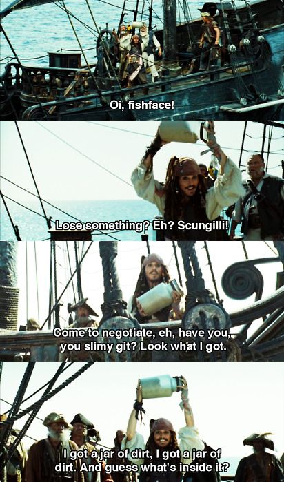 Pirates of the Caribbean. I like this scene far to much