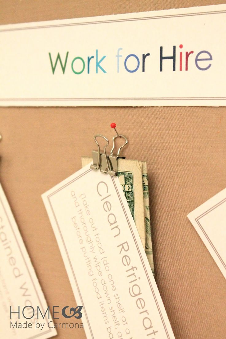 "Chore chart ideas and ""work for hire."" Some good ideas here"