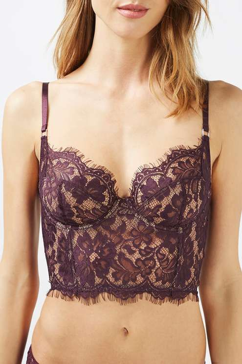 Go luxe with your intimates in this lace bralet in a sultry deep berry hue with non-padded underwired cups for a supported, natural shape. Matches with Brazilian Knickers. #Topshop