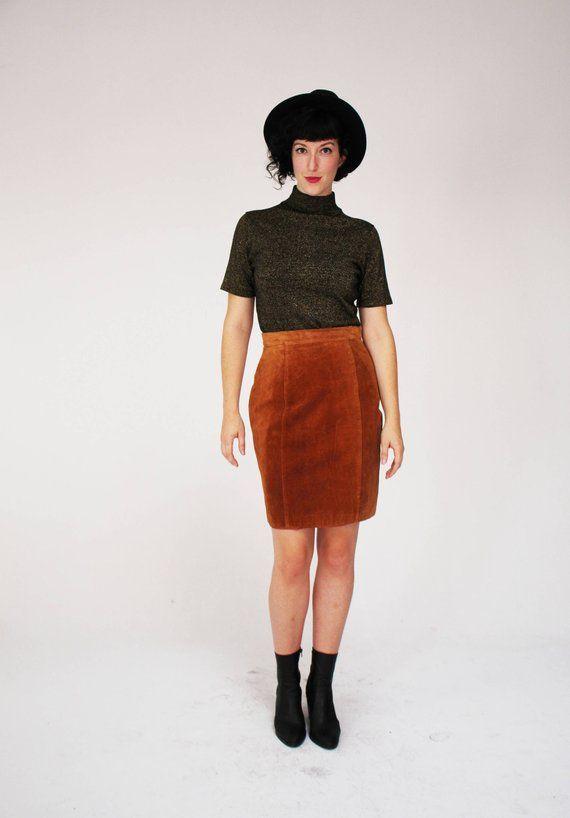 6294af48f Brown Suede Skirt - Vintage, Pelle Cuir, Leather, Medium, Fall, High  Waisted, Cute