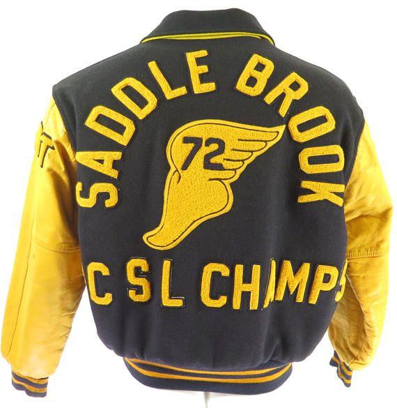 Vintage 70s P-Wing Varsity Letterman Jacket Mens 42 Hewitt Mfg Falcon Leather [H62B_4-2]