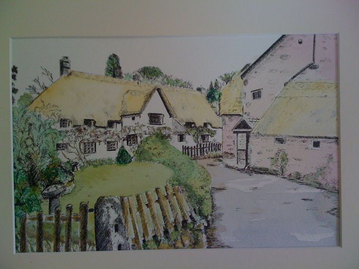 Devon Cottage Pen and Ink wash