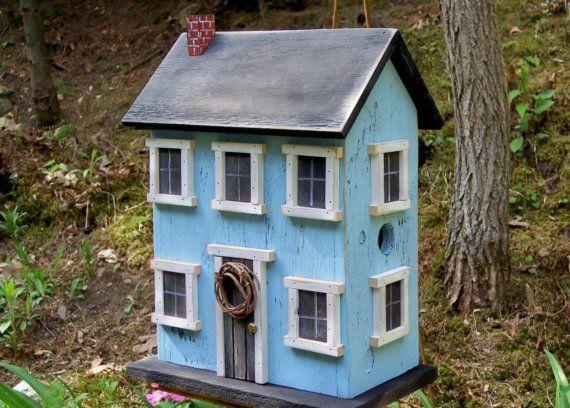 Folk Art Rustic Country Primitive Saltbox Home Decor Garden Birdhouse