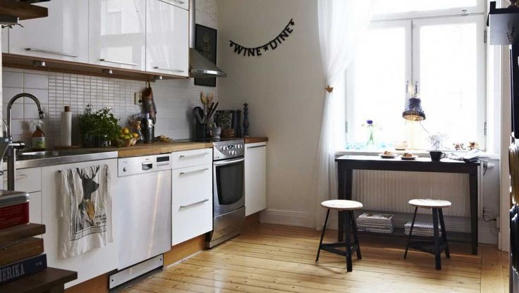 Kitchen. Surprising Design Ideas Of Scandinavian Kitchens. Fair Design Scandinavian Kitchen Ideas comes with White Gloss Kitchen Storage Cabinets and Brown Wooden Countertop