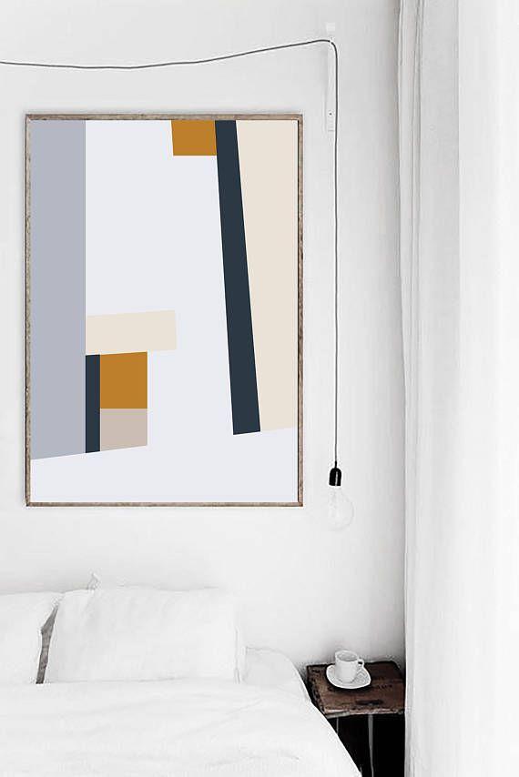 Mid Century Art Print Abstract Geometric Modern Prints Light Blue Orange Navy