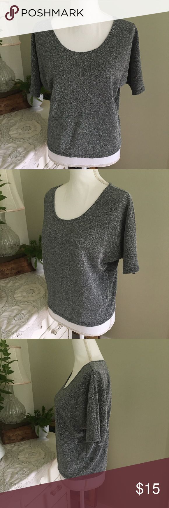 Express Silver Short Sleeve Top This shiny, silver top from Express is slightly sheer and lightweight. Features short sleeves and scoop neck. Size: XS. Express Tops