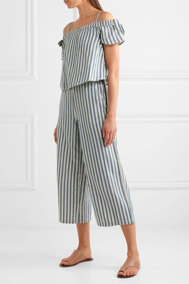 Madewell | Cold-shoulder cropped striped cotton and linen-blend jumpsuit | NET-A-PORTER.COM