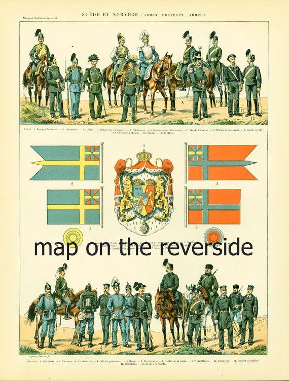 1897 Suecia & Noruega uniformes mapa y banderas por sofrenchvintage