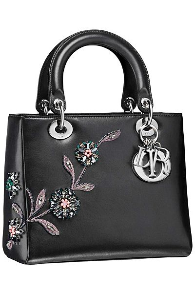 ** Dior Black Floral Embellished Lady Dior Bag - Fall 2014