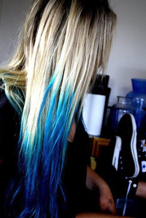 Platinum blonde aqua dip dyed scene hair | Rainbow of Hair ...