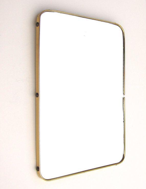 Mid Century Modern Vintage Wall Mirror Brass Frame 1950s