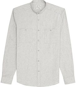Mens Grey Grandad Collar Shirt - Reiss Mathias