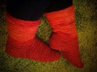 Needlebound / nalbound socks, made by (and for sale) @ Idunas Hantverk {Iduna's Handicraft}  ~  Please see link for more info [in Swedish]!