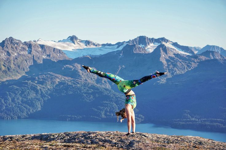 """Leigh in Alaska is one cool woman!! Wearing Lovescapes """"Sounding"""" Yoga Leggings and Top"""