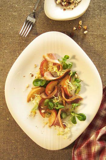 Serviervorschlag für Geräucherte Entenbrust mit Bratapfel