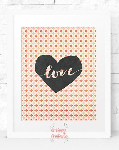 Vintage Love Instant download Illustration prints Home Decor Print Printable Decor Pink wall art Nursery retro Printable Art red art print