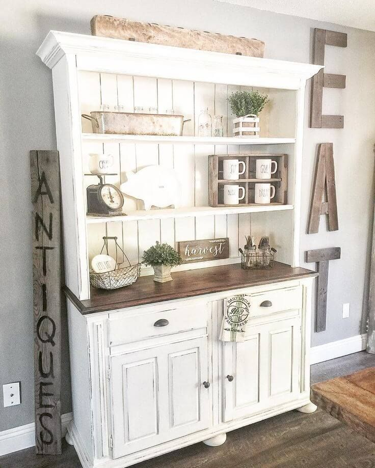 farmhouse / hutch / decor / fixer upper / rustic / distressed / styling / vignette