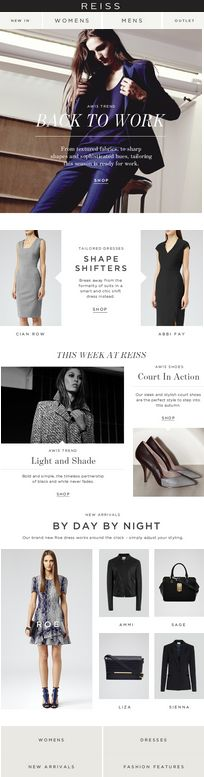 Email Design - One Central Picture with 2 Supporting Pictures Underneath - via Reiss #email