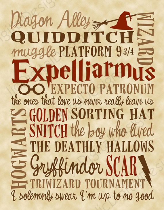 Harry Potter Fan Art Printable Digital Subway Art Typography Poster INSTANT DOWNLOAD