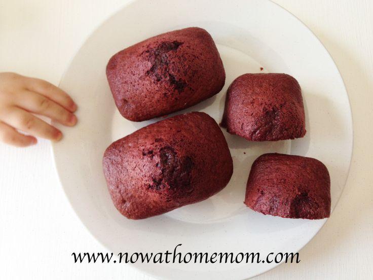 Red velvet mini loaf cakes using cake mix