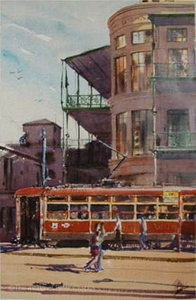 'Tram at the Grand, Glenelg', watercolour on paper, image size 32 cm x 51 cm, unframed $600. ©The estate of Peter Chaplin.  All rights reserved.