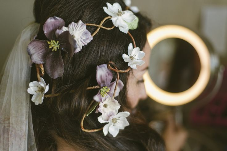 Boho bridal hairstyle with flowers (E.P. Anderson Photography)