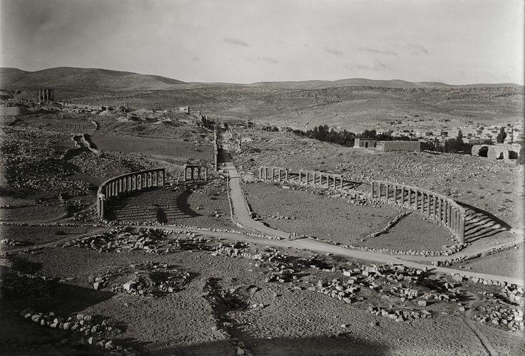 Gerasa Syria 1889, forum and main street .nowJerash City in Jordan