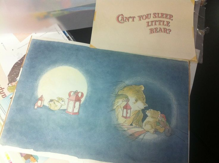 The lettering of the original cover of Can't You Sleep Little Bear was hand painted by Liz Wood here at Walker Books. Beautiful!