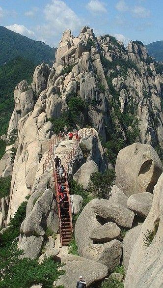 Climbing stairs to Ulsan Rock, Seoraksan National Park, South Korea