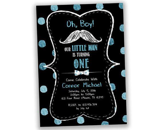 Little Man First Birthday Invitations Mustache Invitation Little