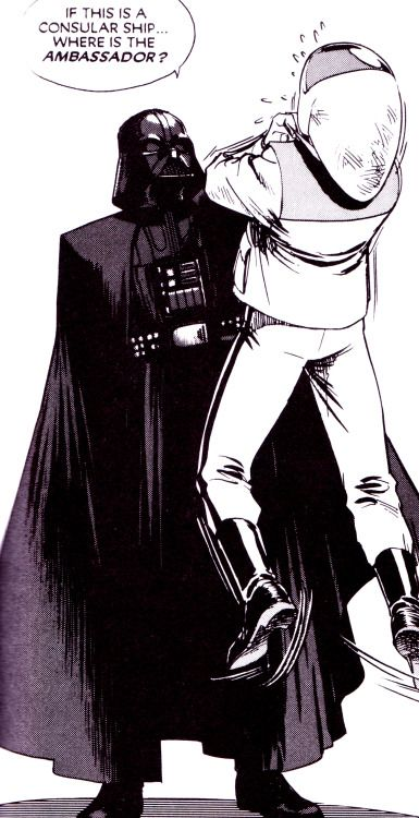 comicbookvault:  Star Wars: A New Hope Manga Vol. 1 (July 1997)Art by Hisao Tamaki   vader had no chill.