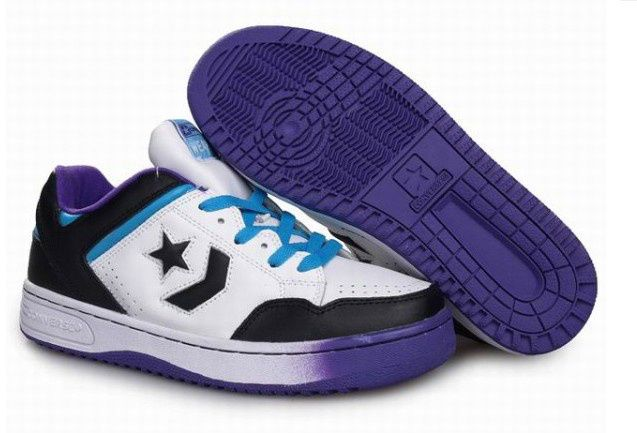 converse basketball shoes white black purple  #It is good for running #fashion #nice #sports #men's shoes #basketball shoes