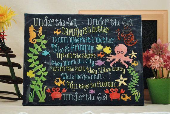 Under the Sea, The Little Mermaid - Unique Canvas Art, wall decor, wall art, bedroom, nursery,kids room, playroom, Disney, Ariel, on Etsy, $68.75