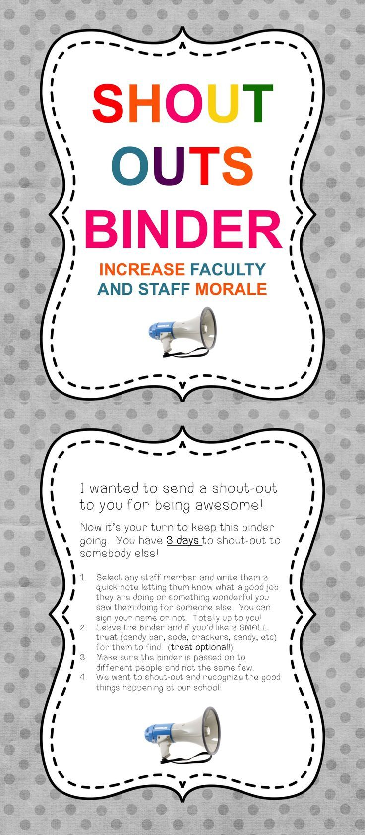 Raise staff morale in December when anxiety is rising. Shout outs for faculty morale.
