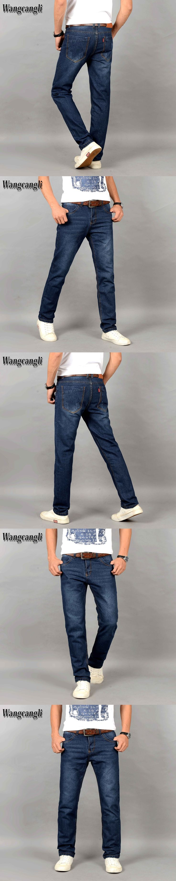 2017 New Autumn Fashion Hole Jeans Men Long Trousers skinny ripped distressed jeans Denim Pants Plus Size Skinny Boys Jeans 38