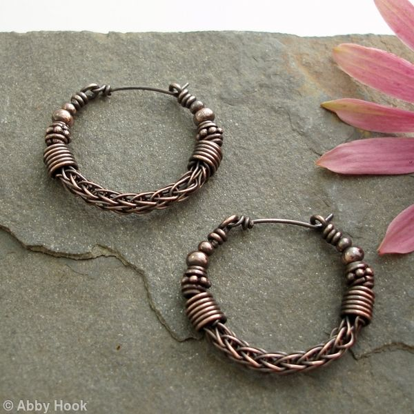 Viking knit Hoop earrings - Copper with beads                                                                                                                                                     More
